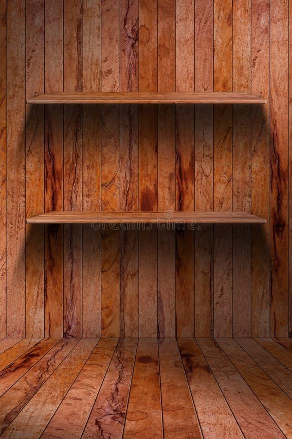 Prateleira de madeira vazia. interior industrial do grunge imagem de stock