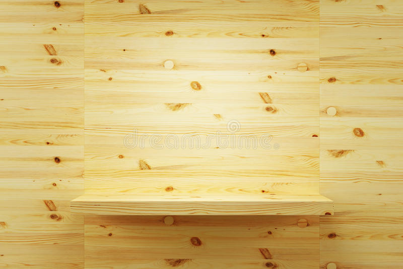 Prateleira de madeira vazia na parede ilustração do vetor