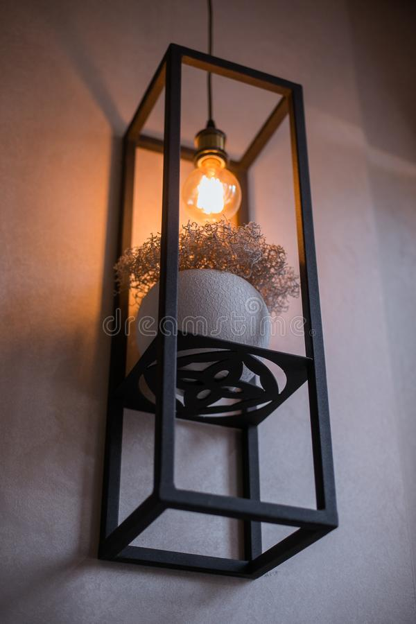 Prateleira do metal em uma parede cinzenta com um potenciômetro com ervas secas e uma lâmpada fotografia de stock royalty free
