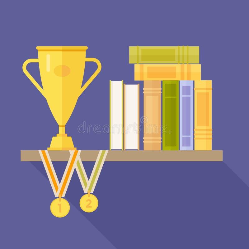 Prateleira dos livros e dos prêmios: medalhas e copo no fundo azul ilustração stock