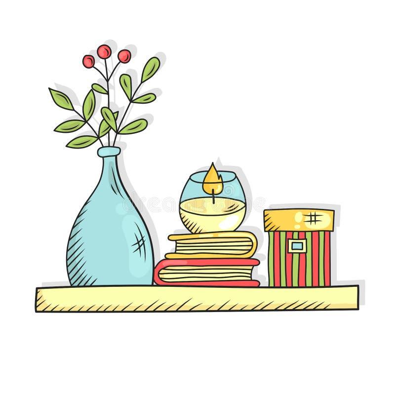 A prateleira interior com vela do vaso dos livros e a caixa rabiscam a linha vetor ilustração royalty free