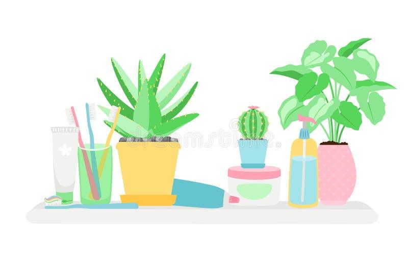 Prateleira no banheiro com plantas e vetor dos objetos do gygiene isolado no fundo branco ilustração stock