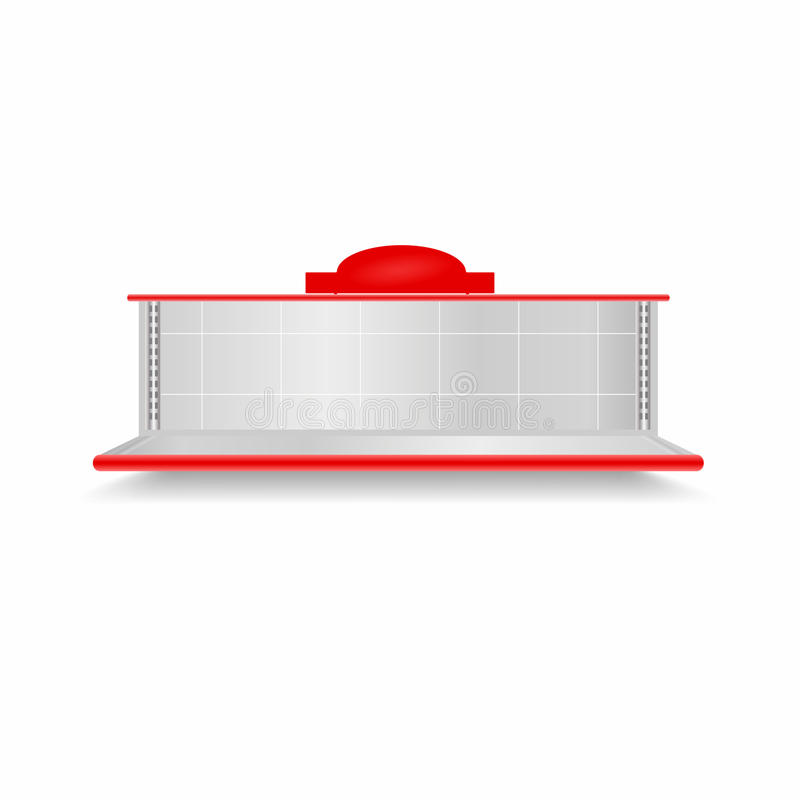 Prateleira vazia do supermercado Mostra realística do vetor com luminoso vermelho ilustração stock