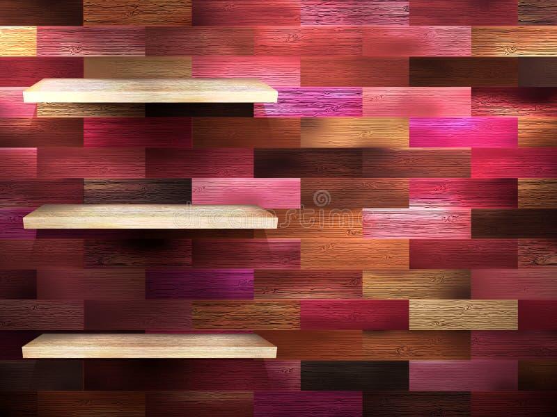 Prateleira vazia para a exibição na madeira da cor. EPS 10 ilustração stock