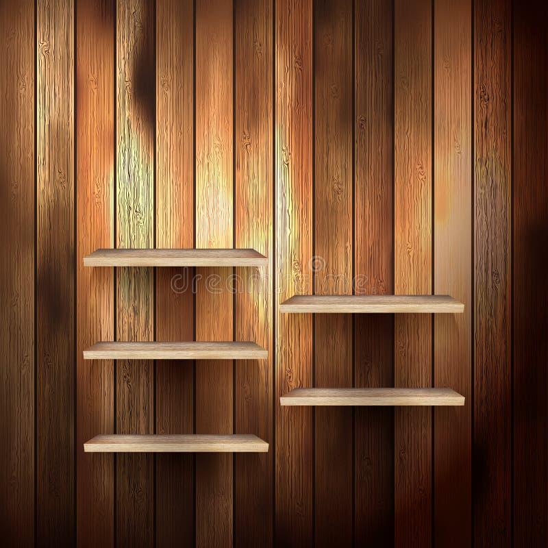 Prateleira vazia para a exibição no fundo de madeira. EPS 10 ilustração do vetor