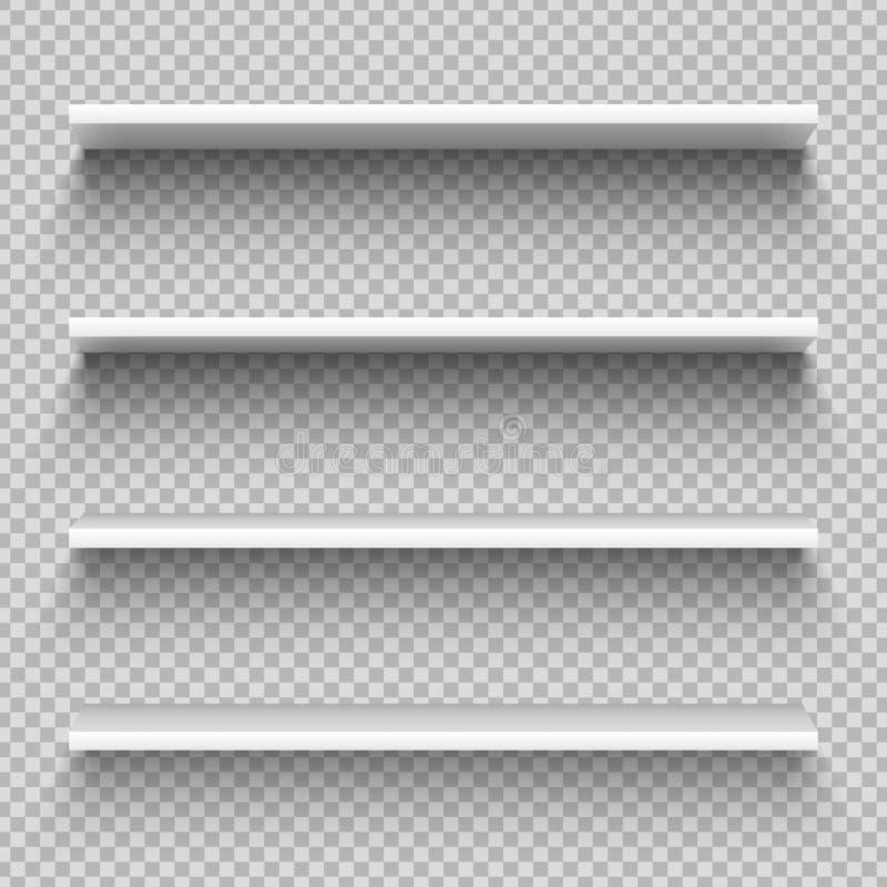 Prateleiras brancas do produto da loja Exposição vazia vazia da mostra, prateleiras varejos Modelo do vetor da biblioteca ilustração do vetor