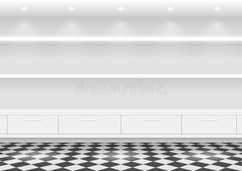 Prateleiras brancas para produtos ilustração do vetor