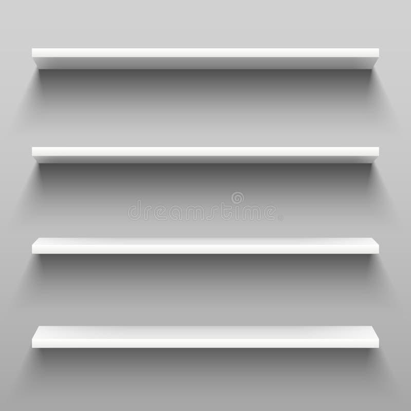 Prateleiras brancas vazias para a mobília home do shelving Grupo realístico de cremalheiras, prateleira do armazenamento com somb ilustração royalty free