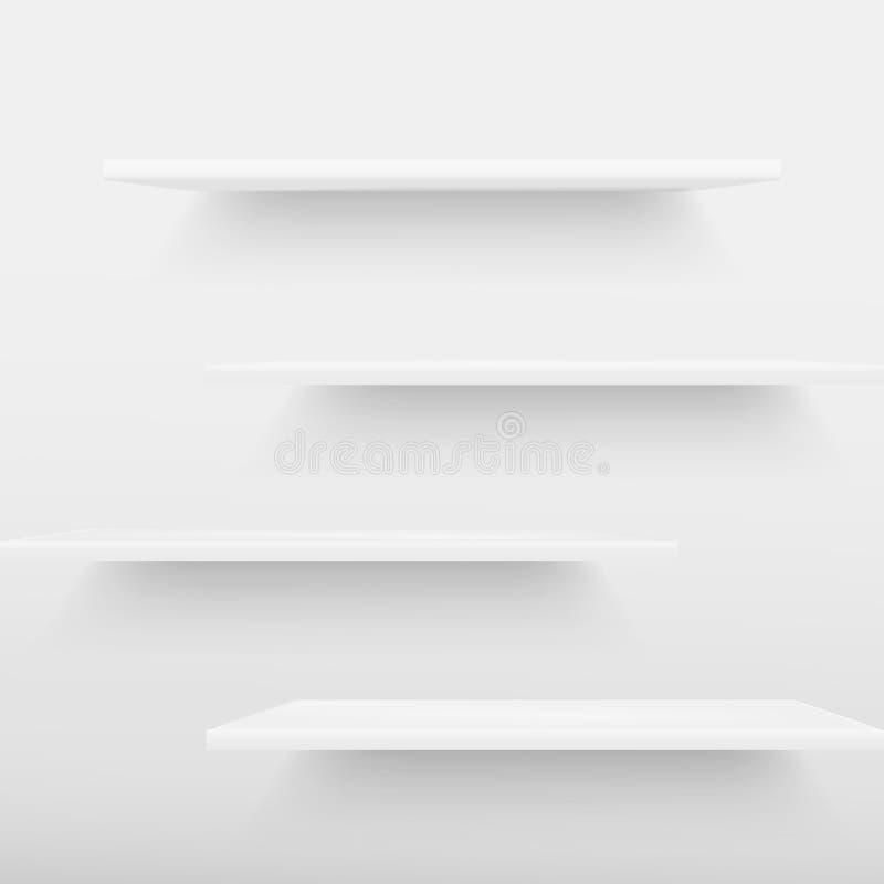 Prateleiras com feixes de luz da parte superior na sala branca vazia rendição 3d ilustração do vetor