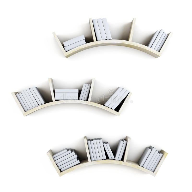 Prateleiras curvadas com os livros no fundo branco 3d ilustração do vetor