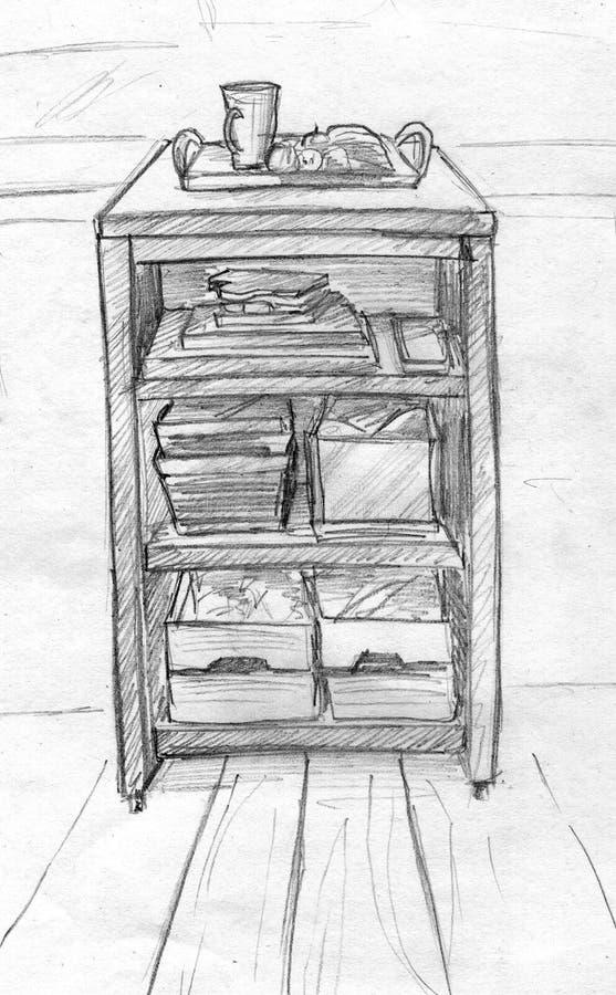 Prateleiras da cozinha - esboço do lápis ilustração royalty free