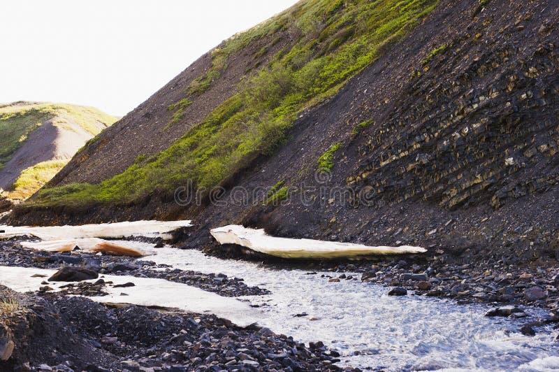 Prateleiras de gelo ao longo do córrego de Yukon foto de stock royalty free