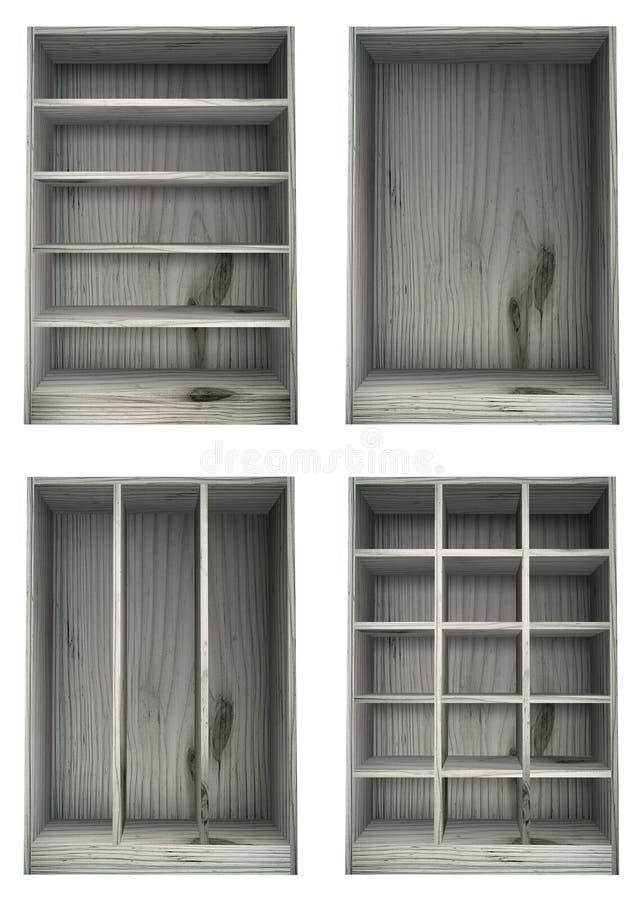 Prateleiras de madeira lavadas branco em várias configurações ilustração royalty free