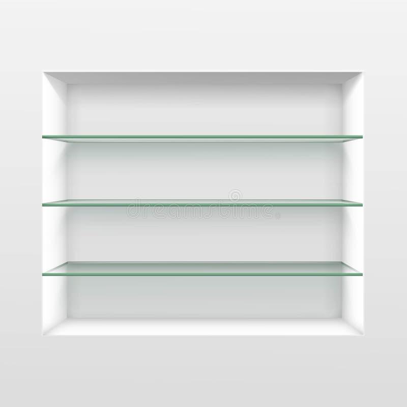 Prateleiras de vidro vazias da prateleira do vetor isoladas no fundo da parede ilustração stock