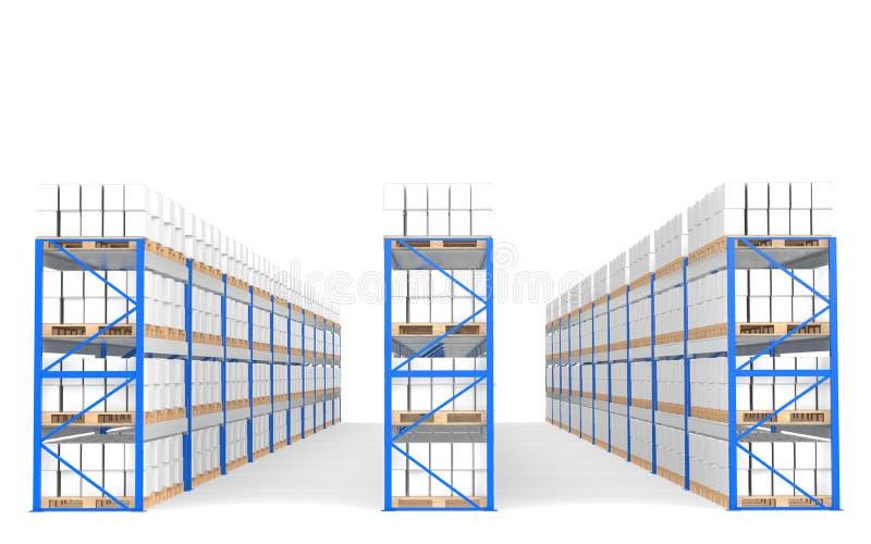 Prateleiras do armazém, vista dianteira com sombras. ilustração do vetor