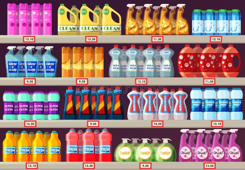 Prateleiras do supermercado com agentes de limpeza ilustração stock