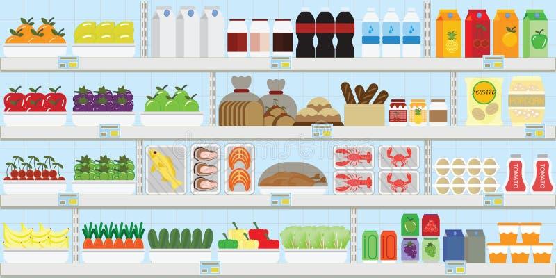 Prateleiras do supermercado com alimento e bebidas, frutos, vegetais, pão, leite e mantimento, ilustração do vetor ilustração do vetor