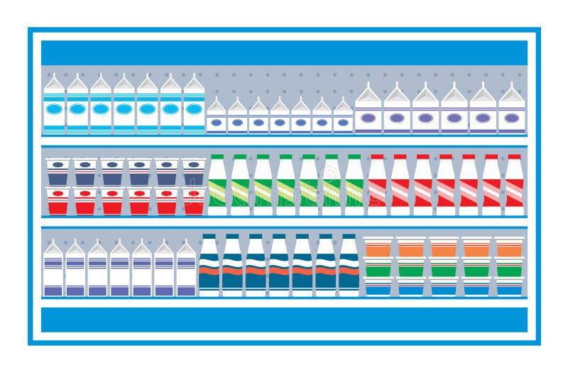 Prateleiras do supermercado com produtos lácteos ilustração do vetor