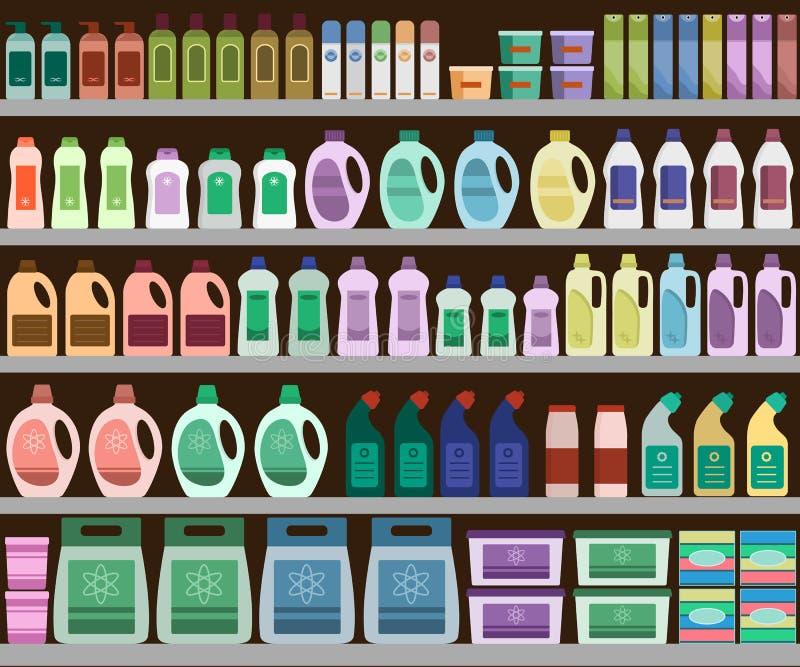 Prateleiras enchidas com os produtos de limpeza ilustração stock