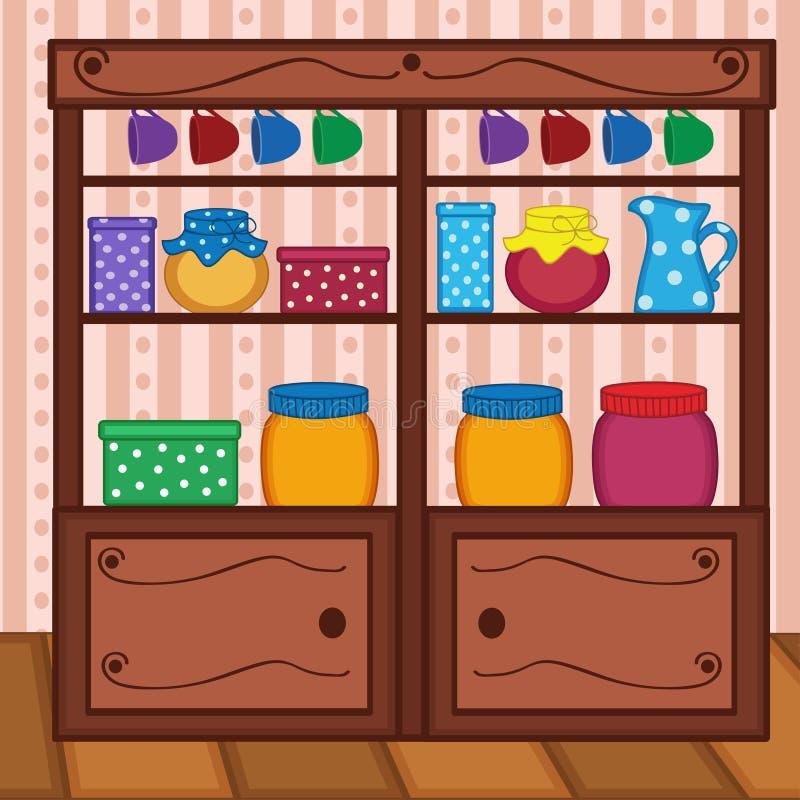 Prateleiras na cozinha com alimento e utensílios ilustração stock