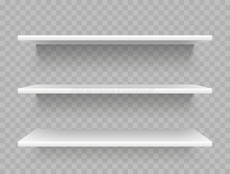 Prateleiras vazias brancas do produto Exposição do supermercado, molde relativo à promoção do vetor da prateleira de loja ilustração royalty free