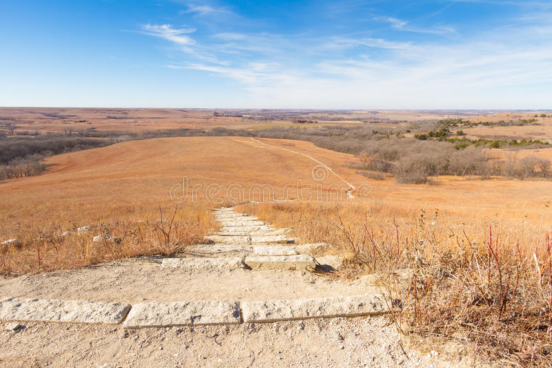 Prateria in Kansas Flint Hills fotografie stock libere da diritti