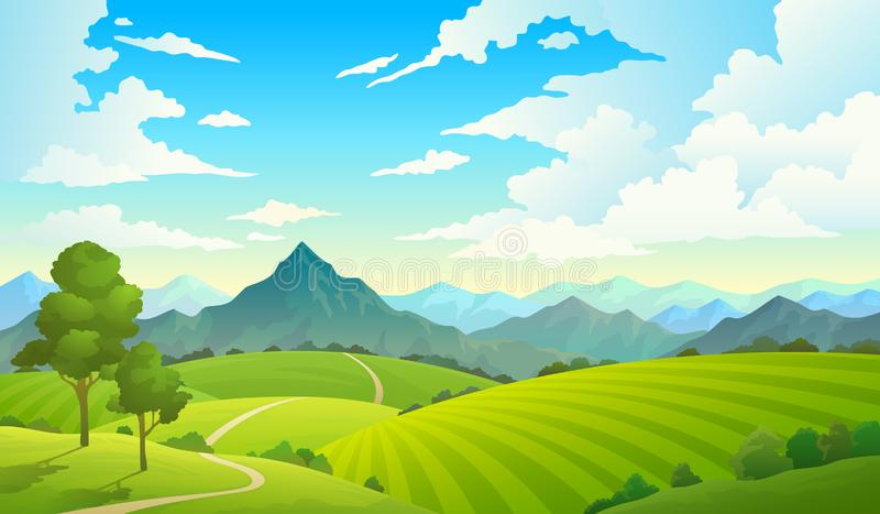 Prati con le montagne Albero selvaggio della campagna della foresta dell'erba della natura del cielo della terra della montagna d illustrazione di stock
