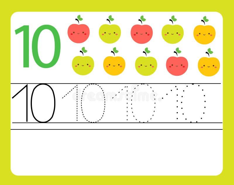 Pratica della scrittura a mano Apprendimento dei numeri con i caratteri svegli Numero dieci Foglio di lavoro stampabile educativo royalty illustrazione gratis