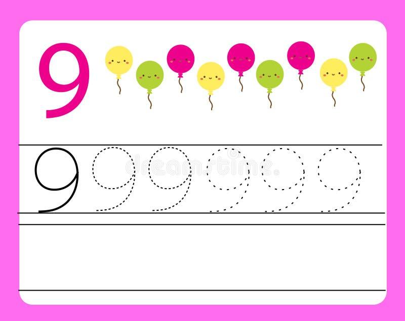 Pratica della scrittura a mano Apprendimento dei numeri con i caratteri svegli Numero nove Foglio di lavoro stampabile educativo  illustrazione di stock