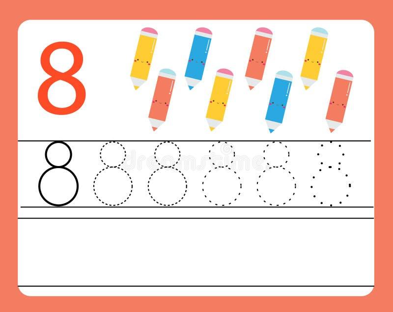 Pratica della scrittura a mano Apprendimento dei numeri con i caratteri svegli Numero otto Foglio di lavoro stampabile educativo  illustrazione vettoriale