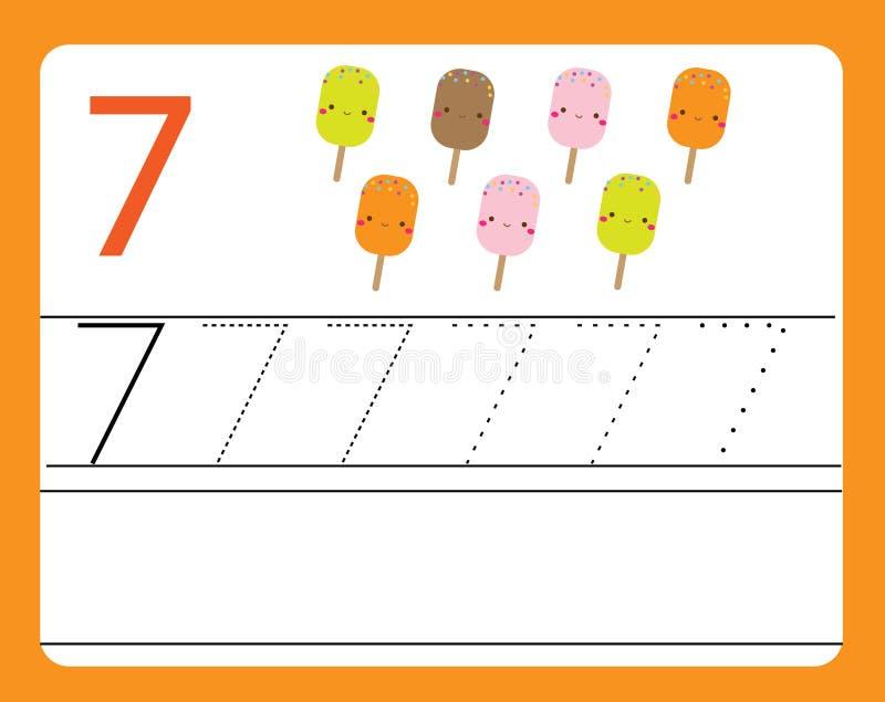 Pratica della scrittura a mano Apprendimento dei numeri con i caratteri svegli Numero sette Foglio di lavoro stampabile educativo illustrazione vettoriale