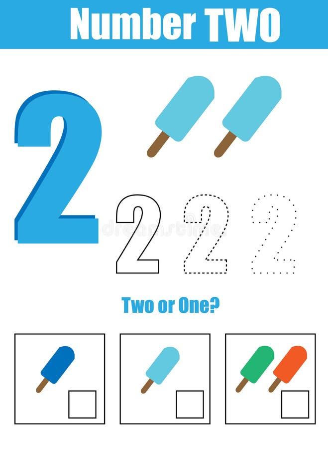 Pratica della scrittura a mano Apprendimento matematica e dei numeri Numero due royalty illustrazione gratis