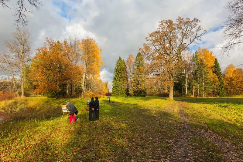 Pratica plenaria nel parco di autunno immagine stock