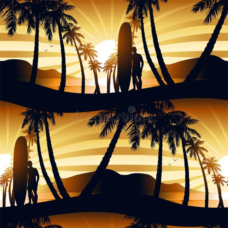 Praticando il surfing all'alba con un modello senza cuciture del longboarder royalty illustrazione gratis