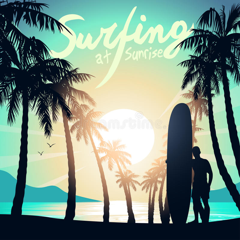 Praticando il surfing all'alba con un surfista di longboard illustrazione di stock