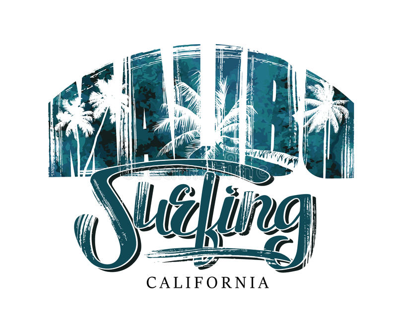 Praticando il surfing in California illustrazione di stock