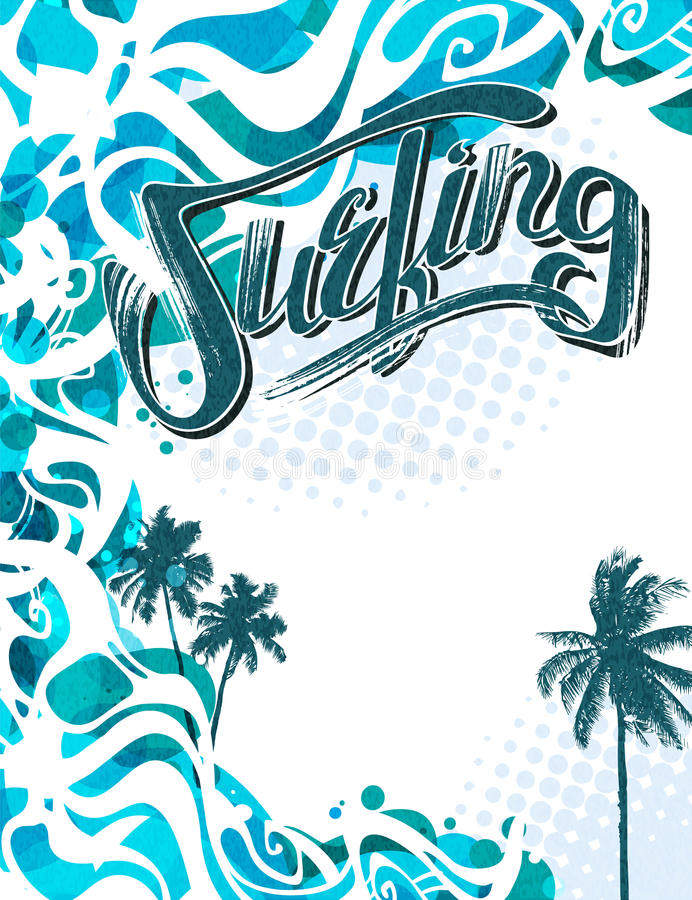 Praticando il surfing in California royalty illustrazione gratis
