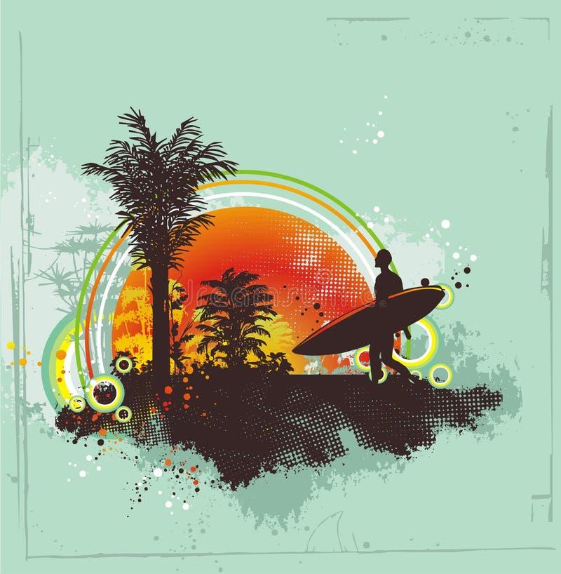 Praticando il surfing nell'estate illustrazione di stock