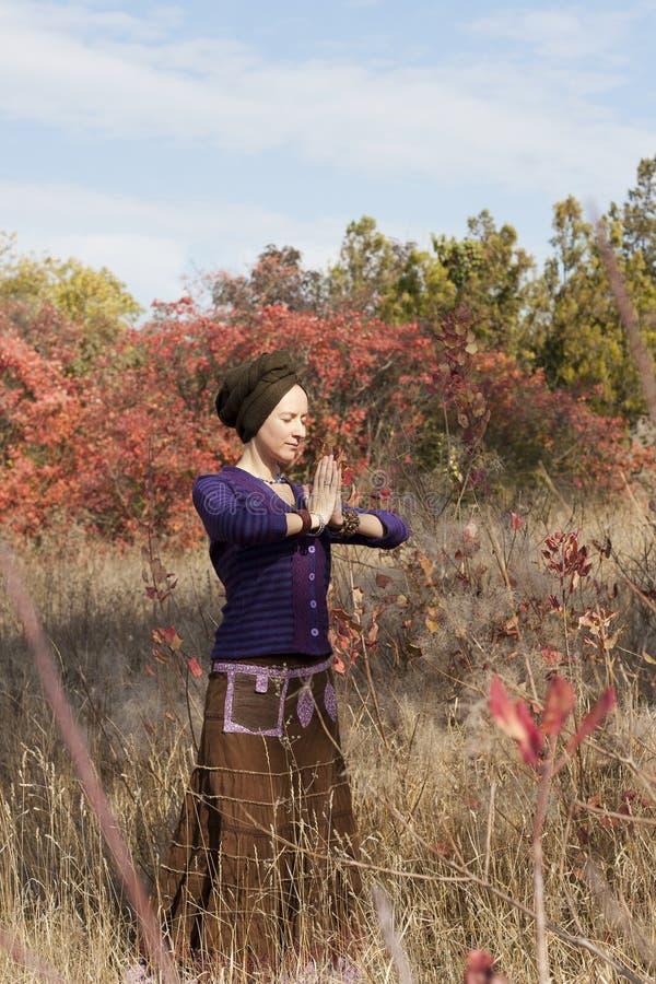Praticar do iogue da jovem mulher fotos de stock