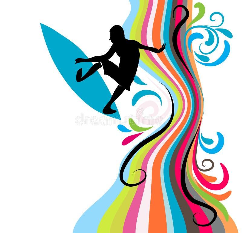 Praticare il surfing royalty illustrazione gratis