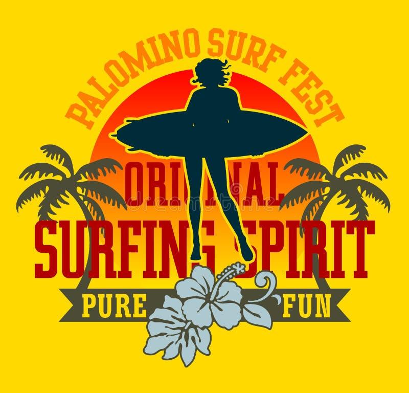 Praticare il surfing illustrazione vettoriale