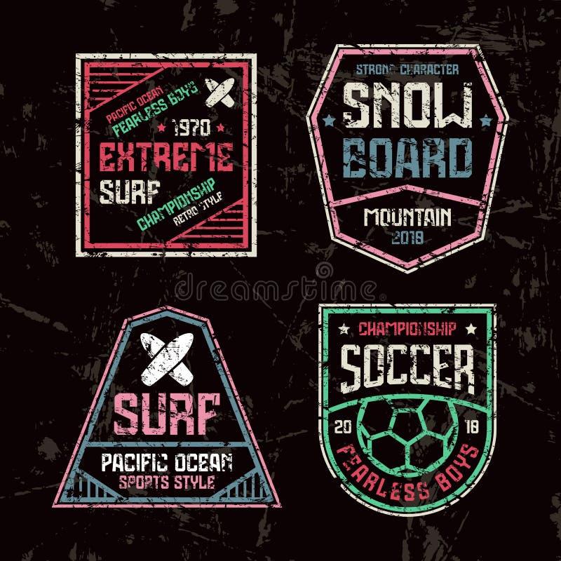 Praticare il surfing, calcio e distintivi dello snowboard illustrazione di stock