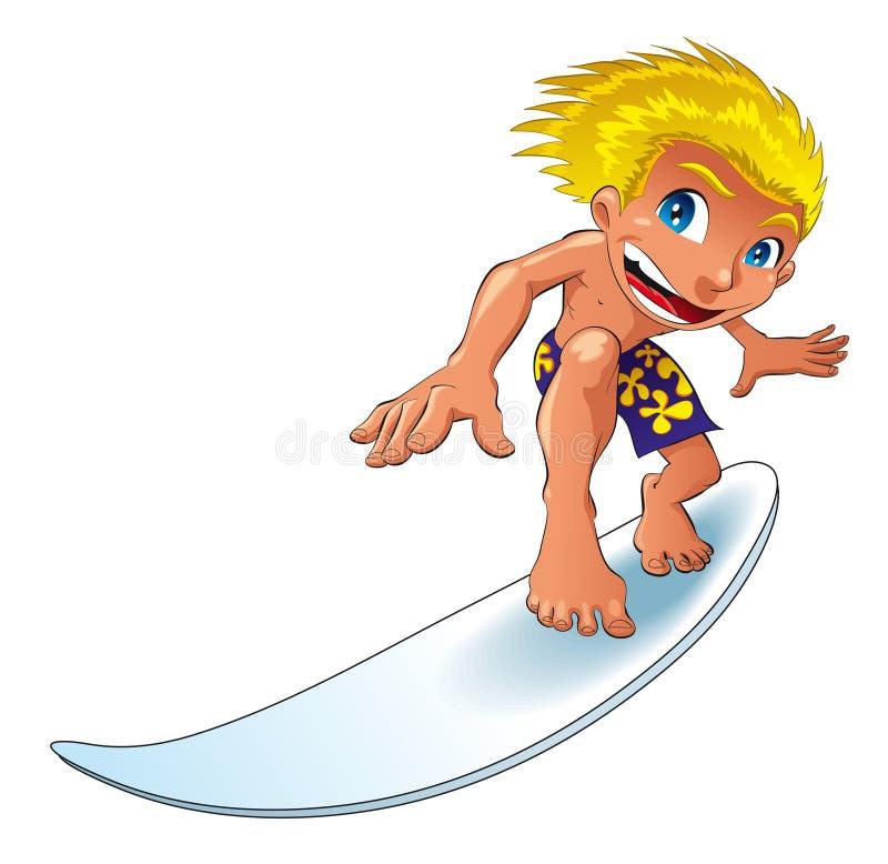 Praticare il surfing del bambino illustrazione di stock