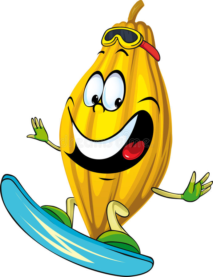 Praticare il surfing del carattere del baccello del cacao isolato su bianco illustrazione di stock