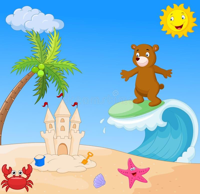 Praticare il surfing felice del fumetto dell'orso illustrazione vettoriale