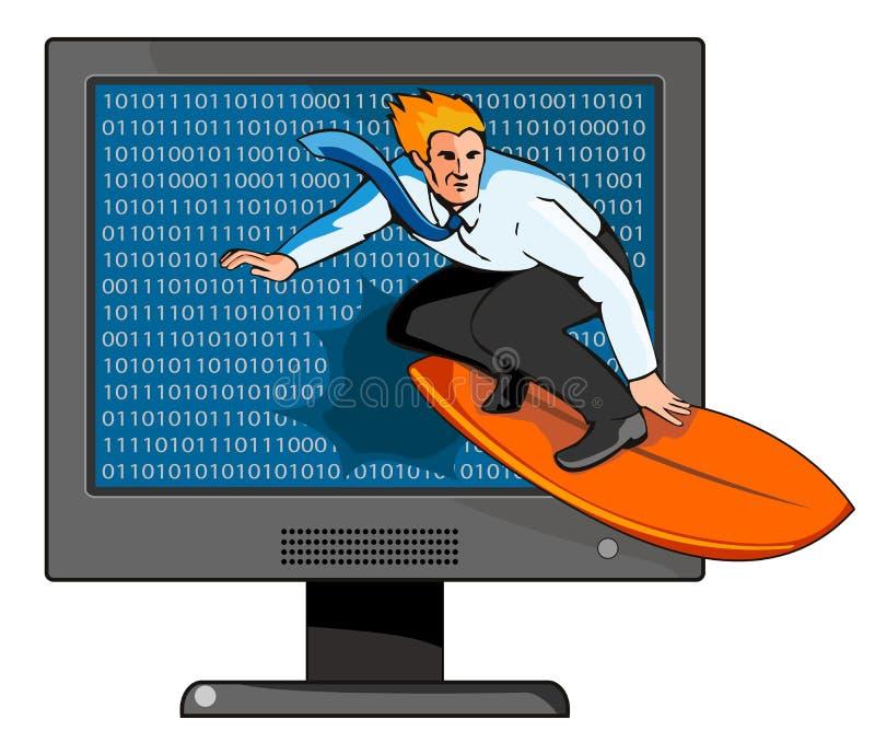 Praticare il surfing la rete royalty illustrazione gratis