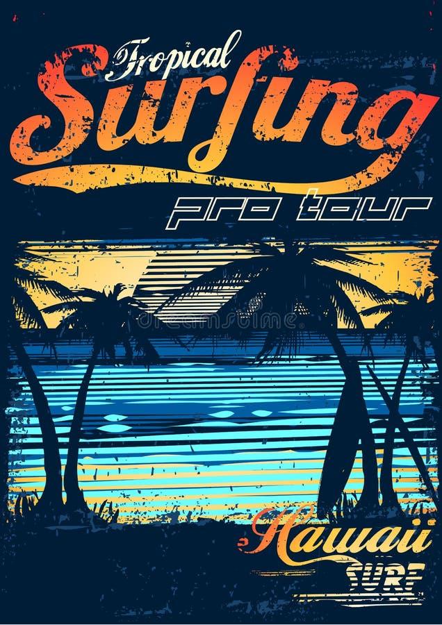 Praticare il surfing tropicale royalty illustrazione gratis