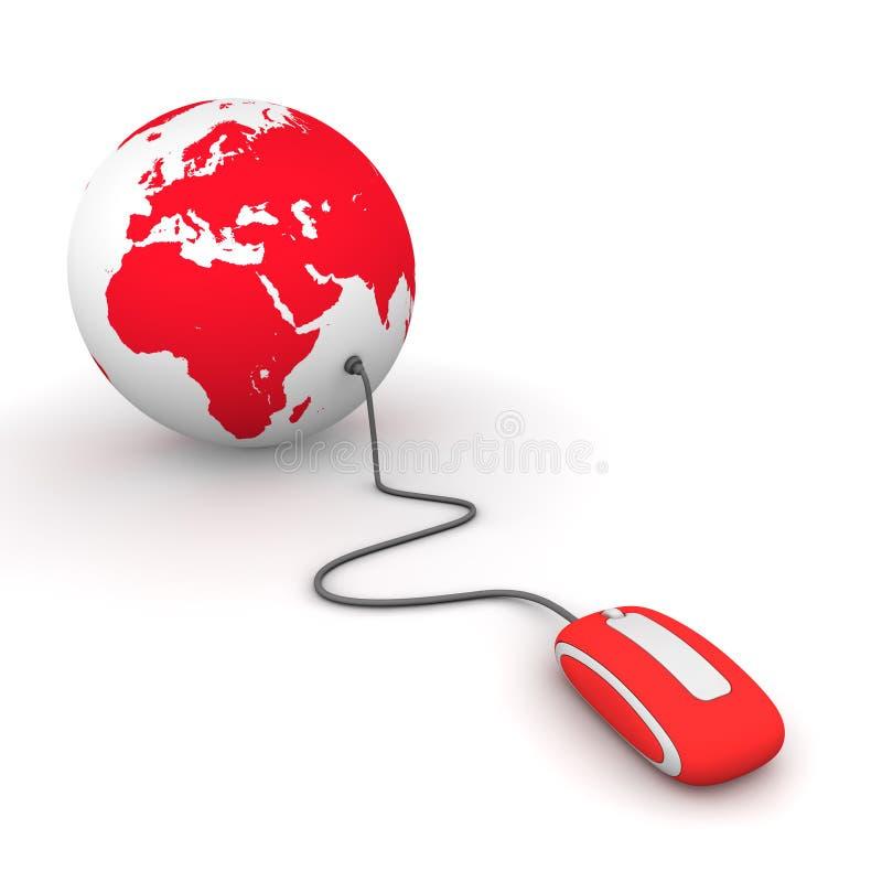 Pratichi il surfing il mondo - colore rosso illustrazione di stock