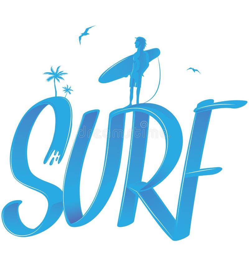 Pratichi il surfing l'iscrizione con le palme ed il surfista illustrazione di stock