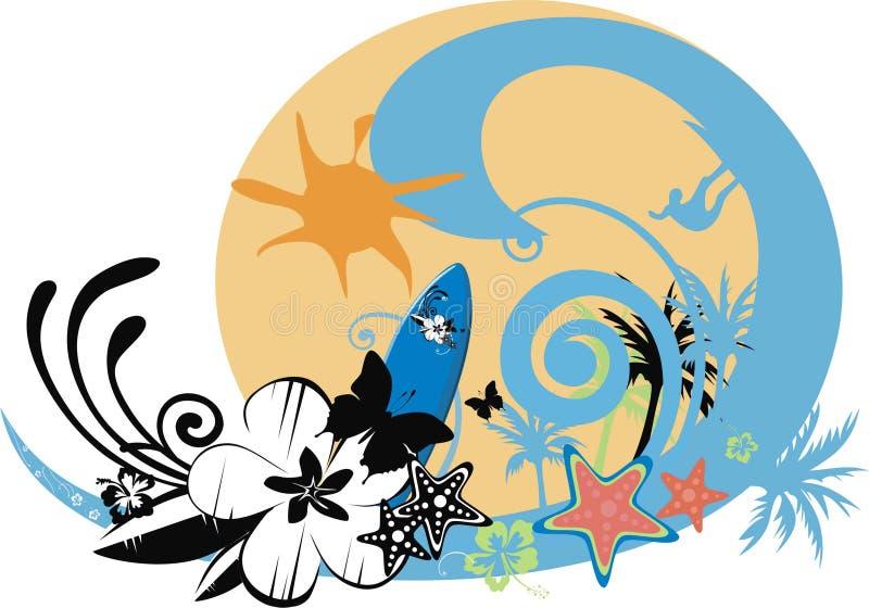 Pratichi il surfing la priorità bassa con le onde, la farfalla, fiori illustrazione vettoriale